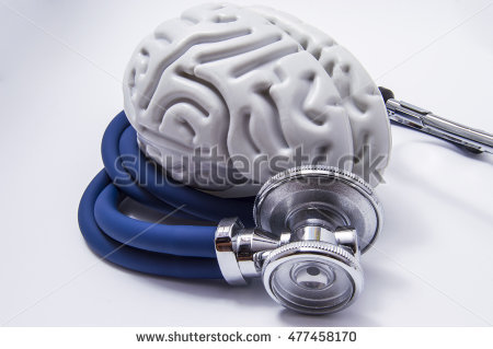 stock photo the figure on the brain is on twisted into a spiral tube of the stethoscope with chestpiece which 477458170